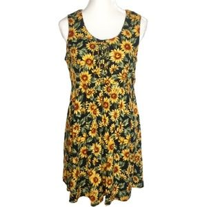 Vintage All That Jazz Lace Up Sunflower Dress